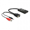 DELOCK VGA Jack stereo 3,5mm USB A -> HDMI M/F adapter fekete