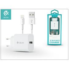 Devia Apple iPhone 5/5S/5C/SE/6S/6S Plus USB hálózati töltő adapter + lightning adatkábel 1,2 m-es vezetékkel - 5V/2,1A - Devia Smart Fast Charger Suit - white audió/videó kellék, kábel és adapter