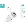 Devia Apple iPhone 5/5S/5C/SE/iPad 4/iPad Mini szivargyújtós töltő adapter + lightning adatkábel - 5V/3,1A - Devia Smart Series Dual Car Ch- white