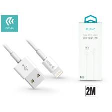 Devia Apple iPhone Lightning USB töltő- és adatkábel 2 m-es vezetékkel - Devia Smart Cable Lightning - white kábel és adapter