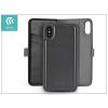 Devia Apple iPhone X oldalra nyíló flipes tok hátlappal + kártyatartóval - Devia Magic Leather 2in1 - black