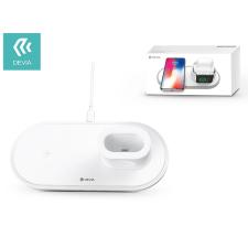 Devia Devia Qi univerzális vezeték nélküli töltő állomás - 18W - Devia V.3 3in1 Wireless Charger for Smartphone + Apple Watch + Earphone - white kábel és adapter
