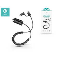 Devia Dual szivargyújtós töltő Lightning + Type-C csatlakozóval, 1,5 m-es spirál vezetékkel - Devia Flash Series - 5V/4,8A - black mobiltelefon kellék