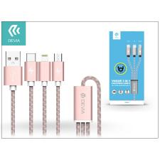 Devia USB - micro USB + Lightning + Type-C adat- és töltőkábel 1,2 m-es vezetékkel - Devia Vogue 3in1 Charging Cable USB 2.4A - pink tok és táska
