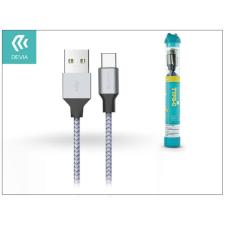 Devia USB töltő- és adatkábel 1 m-es vezetékkel - Devia Tube for Type-C USB 2.4A - silver/blue tablet kellék