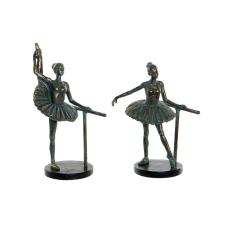 DKD Home Decor Dekoratív Figura DKD Home Decor Balett Táncos Gyanta (2 pcs) (15 x 11 x 22 cm) dekoráció
