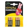 DURACELL AAA SIMPLY 1,5V Vékony Ceruza elem LR03/MN2400 4db/csomag