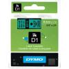 Dymo D1 40919, S0720740, 9mm x 7m fekete nyomtatás / zöld alapon, eredeti szalag