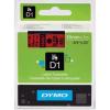 Dymo D1 45807, S0720870, 19mm x 7m, fekete nyomtatás / piros alapon, eredeti szalag