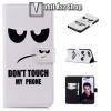 egyéb Notesz / mappa tok - Do no Touch My Phone MINTÁS - oldalra nyíló, rejtett mágneses záródás, belső zseb, asztali tartó funkció, szilikon belső - HUAWEI Honor 10