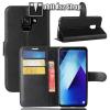 egyéb WALLET notesz tok / flip tok - FEKETE - asztali tartó funkciós, oldalra nyíló, rejtett mágneses záródás, bankkártyatartó zseb, szilikon belsõ - SAMSUNG SM-A730F Galaxy A8 Plus (2018)