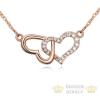 Egymásba fonódó dupla szív nyaklánc, Rose Gold