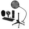 Electronic-Star auna CM001B mikrofon készlet V2 - kondenzátoros mikrofon, mikrofon állvány, pop szűrő, fekete