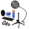 Electronic-Star auna CM001BG mikrofon készlet V2, kondenzátoros mikrofon, USB-adapter, mikrofon állvány, kék