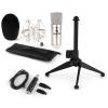 Electronic-Star auna CM001S mikrofon készlet V1, kondenzátoros mikrofon, USB-adapter, mikrofon állvány, ezüstszínben