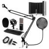 Electronic-Star auna CM003 mikrofon szett V5 kondenzátoros mikrofon, USB-konverter, fekete