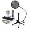 Electronic-Star auna MIC-900BL V2, USB mikrofon készlet, kondenzátoros mikrofon + pop szűrő + asztali állvány
