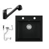 Eos Gránit mosogató EOS Como + Kihúzható zuhanyfejes Shower csaptelep + dugókiemelő + szifon (fekete)