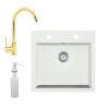 Eos Gránit mosogató EOS Como + magasított arany csaptelep + adagoló + szifon (fehér)