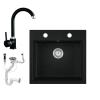 Eos Gránit mosogató EOS Como + magasított csaptelep + dugókiemelő + szifon (fekete)