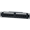 "Equip 10"" patch panel 12 portos 1U cat.5E fekete"