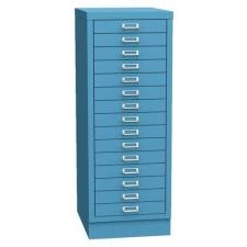 Esk egysoros fém A3-as irattartó szekrény, 15 fiók, kék irattartó