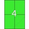 ETIKETT CÍMKE SZÍNES 105X148 MM ZÖLD 4 DB/ÍV, 25 ÍV/CSOMAG