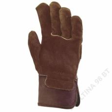 Euro Protection Bőrkesztyű, barna marhahasíték, erős, barna vászon kézhát -10
