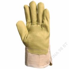 Euro Protection Műbőr kesztyű, sárga nitril/csíkos vászon kézhát -10