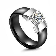 Extreme Silver Nemesacél kerámia gyűrű kerek cirkóniával / 58 mm gyűrű