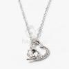 Ezüst bevonatos szív medálos nyaklánc fehér köves jwr-1304