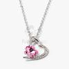Ezüst bevonatos szív medálos nyaklánc pink köves jwr-1305