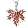 Ezüst nyaklánc, juharlevél medállal, bordó