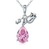 Ezüst nyaklánc tulipános medállal, kristállyal díszítve, pink