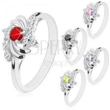 Ezüst színű gyűrű, fényes félholdak, kör cirkóniák gyűrű