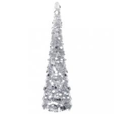 Ezüstszínű összecsukható PET műkarácsonyfa 150 cm karácsonyi dekoráció