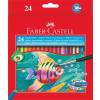 Faber-Castell Aquarell színes ceruza készlet, hatszögletű, ecsettel, FABER-CASTELL, 24 különböző szín
