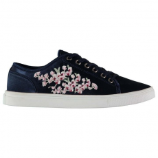 Fabric női sportcipő - Fabric Embroidered Lace Ladies Trainers Navy