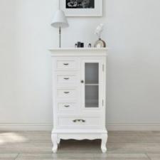 Fehér 5 fiókos 2 polcos szekrény bútor