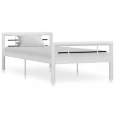 Fehér és fekete fém ágykeret 90 x 200 cm ágy és ágykellék