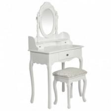 Fehér fésülködőasztal tükörrel és zsámollyal bútor