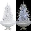 Fehér havazó karácsonyfa ernyő alakú talppal 170 cm