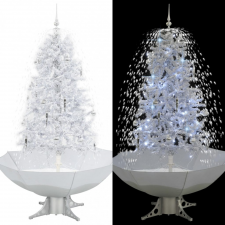 Fehér havazó karácsonyfa ernyő alakú talppal 170 cm kerti dekoráció