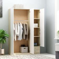 Fehér-sonoma forgácslap háromajtós ruhásszekrény 120x50x180 cm bútor