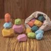 Fejlesztő fa játék, színes jenga kövek