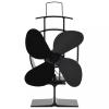Fekete hővel meghajtott négylapátos kandalló ventilátor