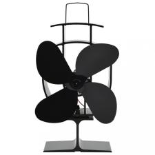 Fekete hővel meghajtott négylapátos kandalló ventilátor hűtés, fűtés szerelvény