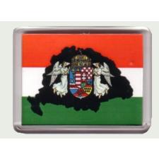 Fekete Nagy-Magyarország angyalos hűtőmágnes (műanyag keretes) hűtőmágnes