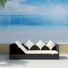 Fekete polyrattan kültéri kanapé hát- és ülőpárnákkal