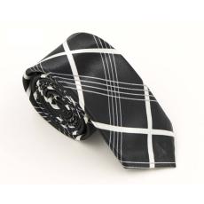 Fekete selyemhatású kárómintás nyakkendő